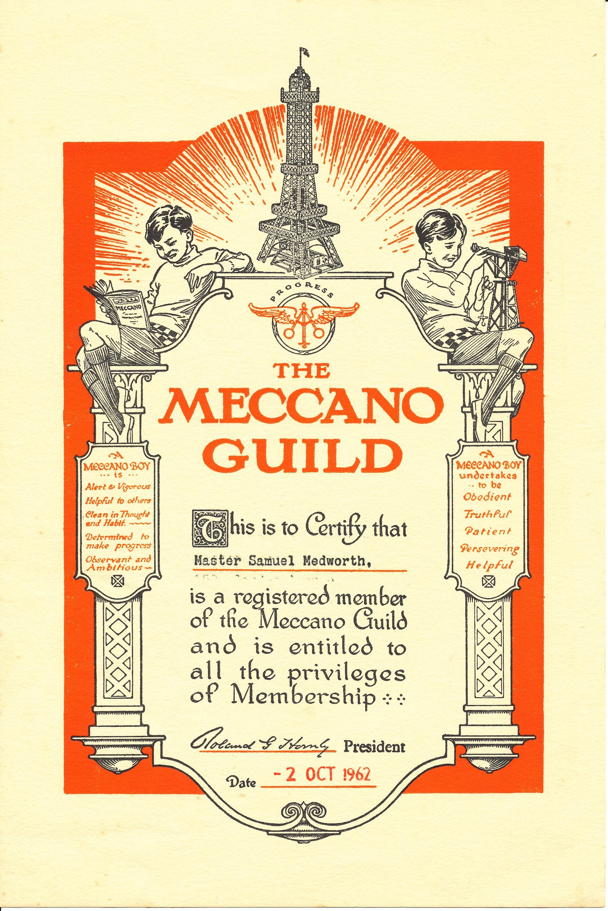 Sam certificate Meccano Guild