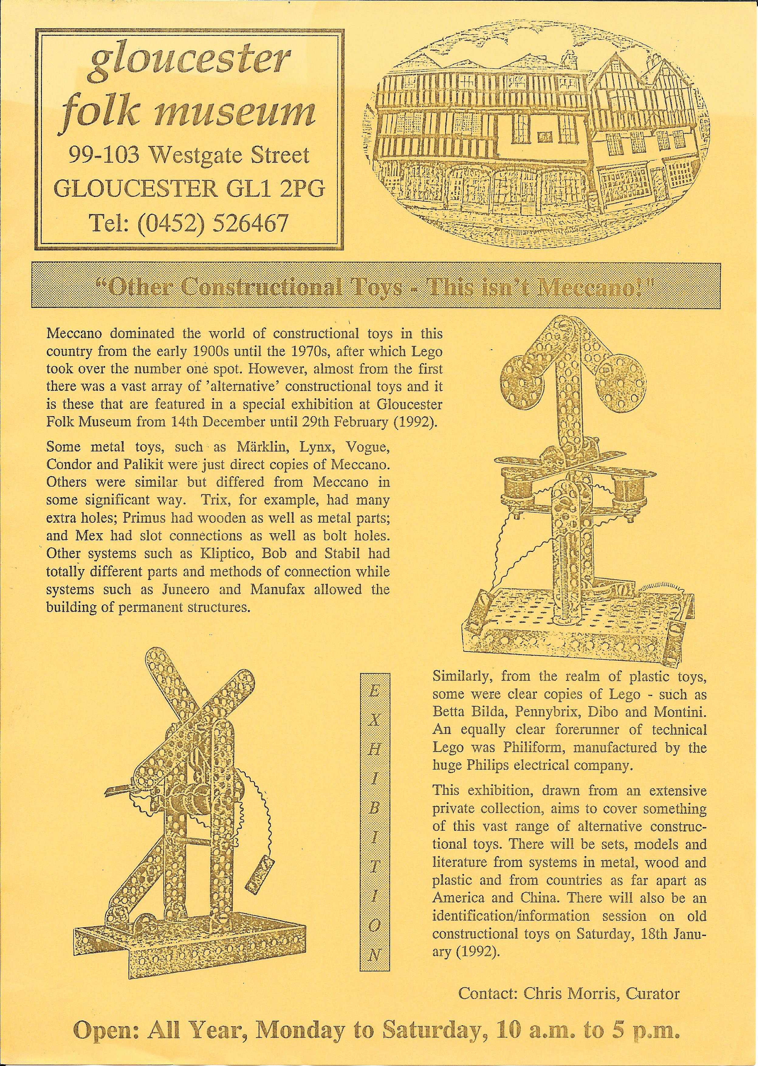 Meccano exhibition Gloucester Folk Museum 1992 3